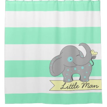 Mint Green Stripes with Blue Polka-dots Elephant Shower Curtain