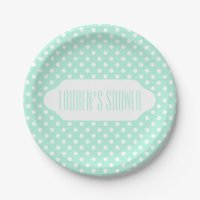 Mint green white polka dot paper plate | Zazzle