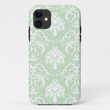 Mint Ice Cream Green and white vintage damask iPhone 11 Case