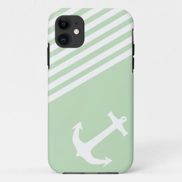 Mint Ice Cream Green Nautical iPhone 11 Case