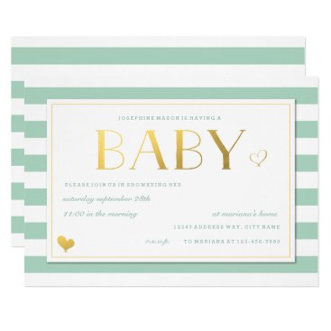 Mint & White Stripe Baby Shower Faux Gold Hearts Invitation