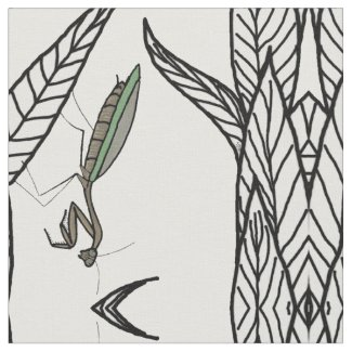 Mirrored Green and Brown Praying Mantis On Leaves Fabric