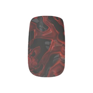 Mischievous Red/BLK Glossy Minx Nail Wraps