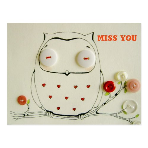 miss you owl postcard button art