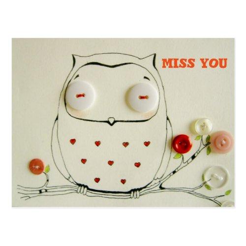 miss you owl postcard button art
