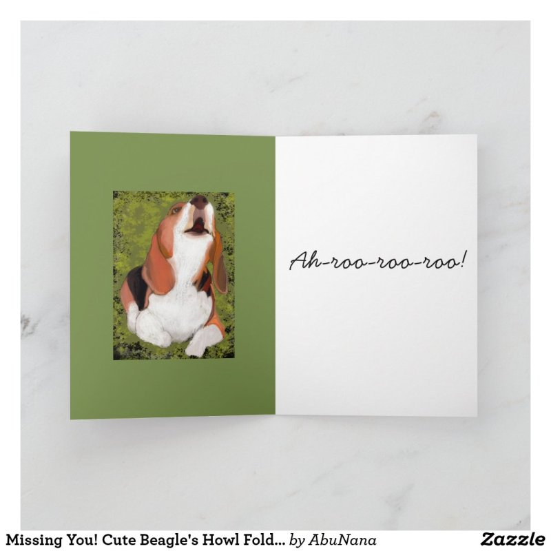 Missing You! Cute Beagle's Howl Folded Card