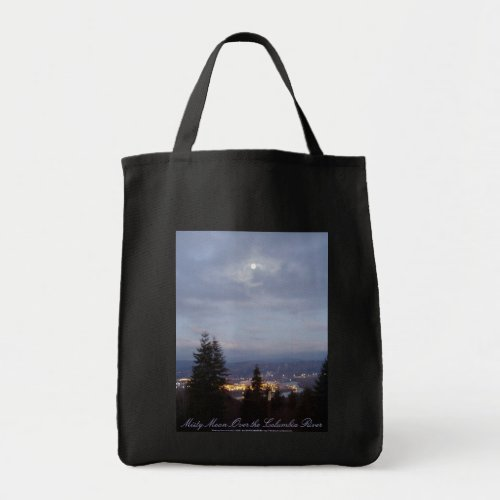 Misty Moon Over the Columbia River bag