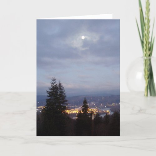 Misty Moon Over the Columbia River card