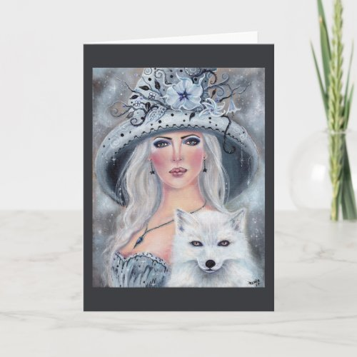 Misty moonflower witch and fox card by Renee