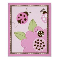 Mocha Ladybug Flower Nursery Wall Art Print | Zazzle