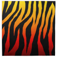 Mod Fiery Zebra Cloth Napkins (Orange & Yellow) on Zazzle
