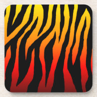 Mod Firey Zebra Print Beverage Coasters on Zazzle