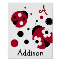 Mod Red Ladybug Nursery Wall Art Name Print | Zazzle