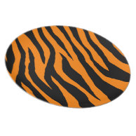 Orange Mod Tiger Zebra Print Party Plate on Zazzle