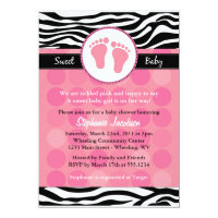 Mod Zebra Print Baby Shower Invitations