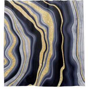 navy blue gold shower curtains zazzle