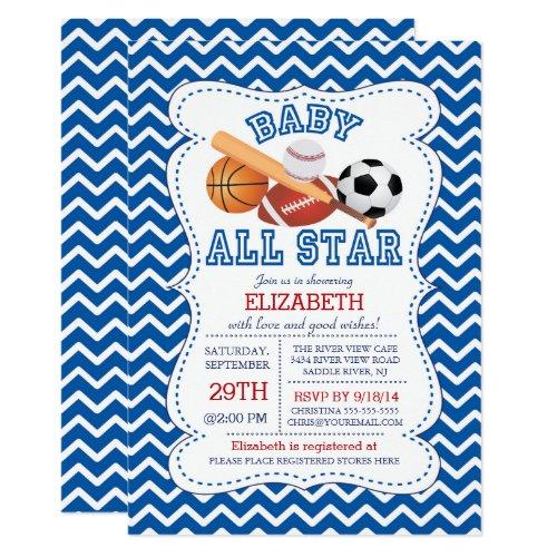 Modern All Star Sports Boys Baby Shower Card