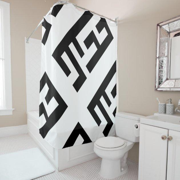 modern black and white shower curtain 2 zazzle com