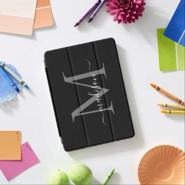 Modern Black Gray Monogram Feminine Stylish Script iPad Air Cover