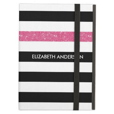 Modern Black Stripes FAUX Pink Glitz and Name Cover For iPad Air
