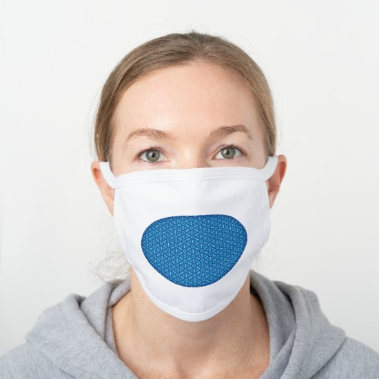 Modern Blue Abstract Geometric Pattern White Cotton Face Mask