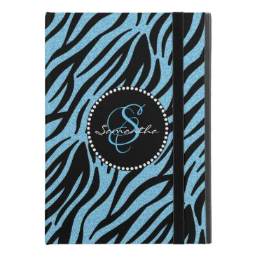 "Modern Blue Glitter Black Zebra Stripes Monogram iPad Pro 9.7"" Case"