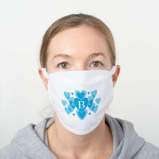 Modern Blue Heart Monogram Abstract Pattern White Cotton Face Mask