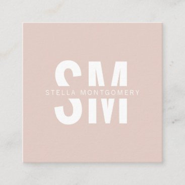 Modern blush pink and white monogram professional square business card