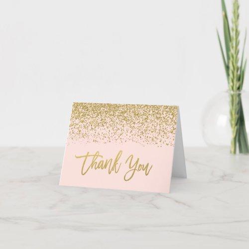 Modern Blush Pink Faux Gold Glitter Thank You