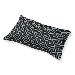 Modern Bold Diamond Pattern (Gray/Blue) Small Dog Bed