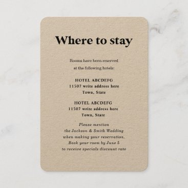 Modern Bold Typography Accommodations Wedding Encl Enclosure Card