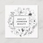 Modern Botanical Black and White Square Business Card