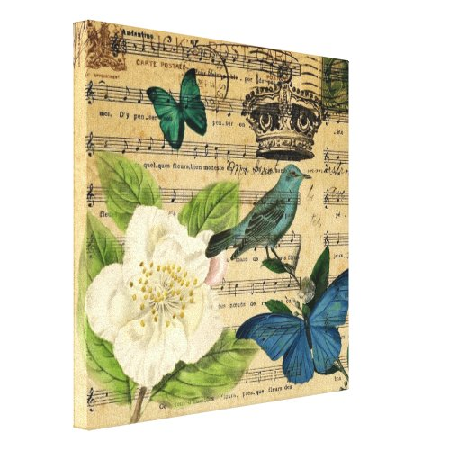 modern botanical music notes french bird Camellia Canvas Print