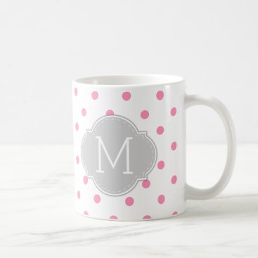 Modern Bubblegum Pink Polka-dots with monogram Coffee Mug