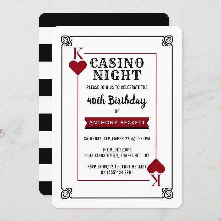 modern casino night birthday party invitation zazzle com