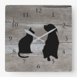 Modern cat dog  silhouettes pets wood background square wall clock