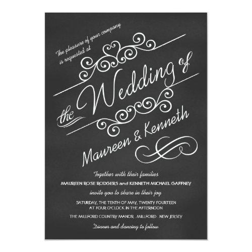 Modern Chalkboard Fancy Scrolls Wedding Invitation
