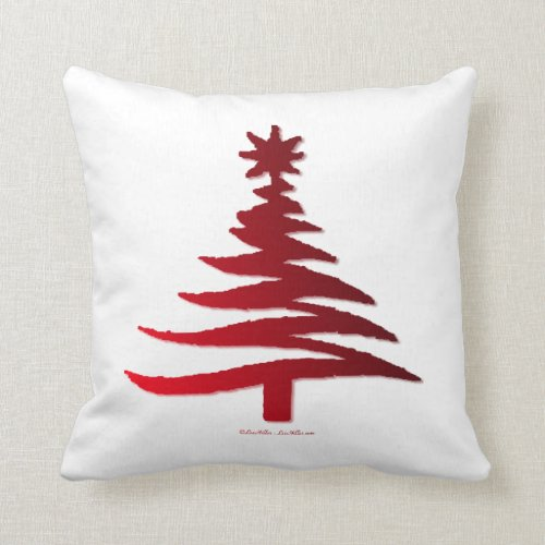 Modern Christmas Tree Stencil Print Red Throw Pillow