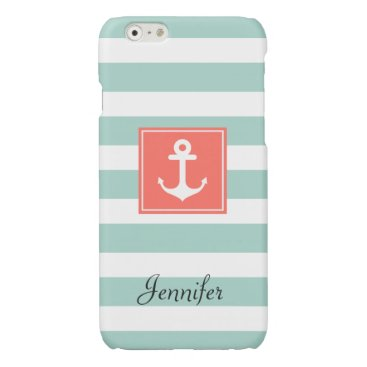 Modern Coral Nautical Anchor Mint White Stripes Glossy iPhone 6 Case