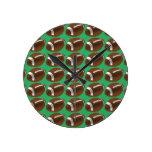 Modern Cute Unique Trendy Stylish Green Football Round Clock