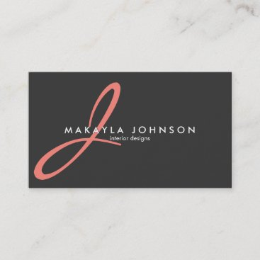 Modern & Elegant coral pink Monogram Professional Business Card