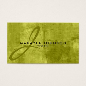 Modern & Elegant Monogram Lime Green Professional Business Card