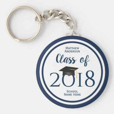 Modern Elegant Navy Blue Typography Graduation Keychain