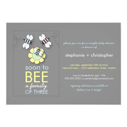 Modern Family to Bee Couples Baby Shower for Boy Invitation
