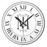 Modern Farmhouse Black White Monogram Family Clock