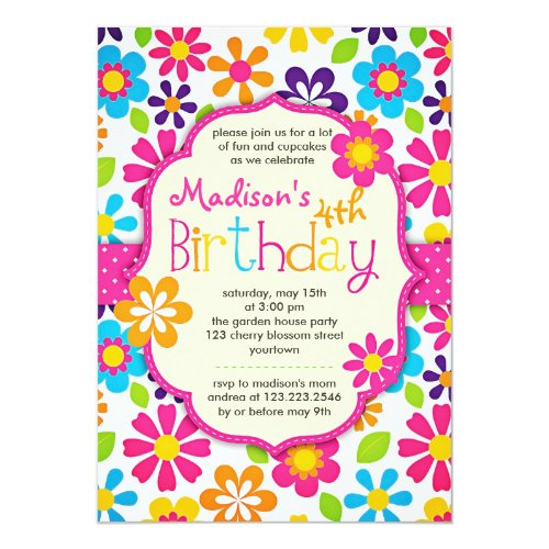 Modern Floral Colorful Spring Cute Birthday Party Invitation