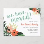 Modern Floral New Address Postcard | Coral