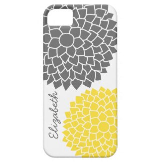 Modern Floral pattern - gray and yellow iPhone 5 Cases