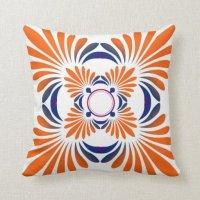 Modern Floral Throw Pillows:Blue Orange   Zazzle