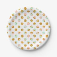 Modern Girly Pink Teal Gold Glitter Polka Dots 7 Inch ...